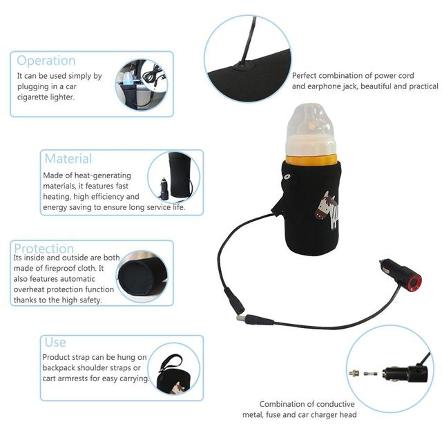 12V Safe Constant Temperature Car Baby Milk Insulation Bag Auto thermostatic Feedding Warmers  Milk Bottle Heating Device