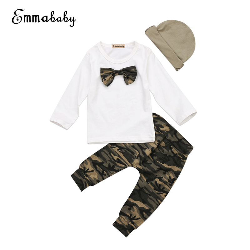 3Pcs Set Baby Boy Gentleman Clothes Newborn Baby Boys T-Shirt Tops Camo Pants Hat 2017 New Bebes Fall Boys Clothing Sets Outfits