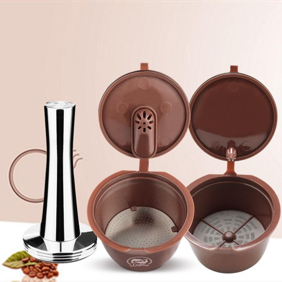 Crema 커피 캡슐 필터 업그레이드 dolce gusto 용 3 세대 2 형 재충전 용 재사용 가능한 컵 바구니 41mm tamper