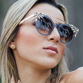 BOUTIQUE Women Brand Design Butterfly Cat Eye Sunglasses Vintage Brand Designer Crystal Diamond Frame Sunglasses H1759