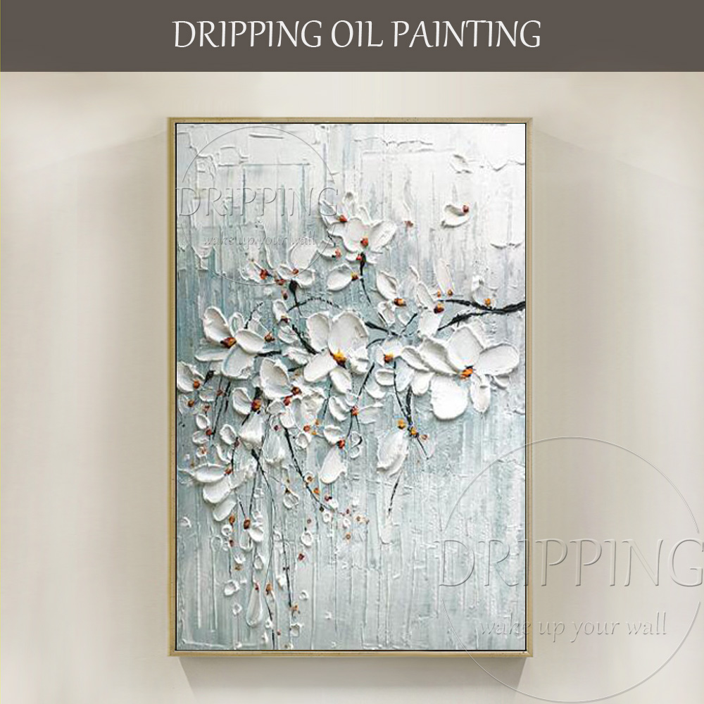 Hand Painted Knife Textured White Flower Oil Painting On