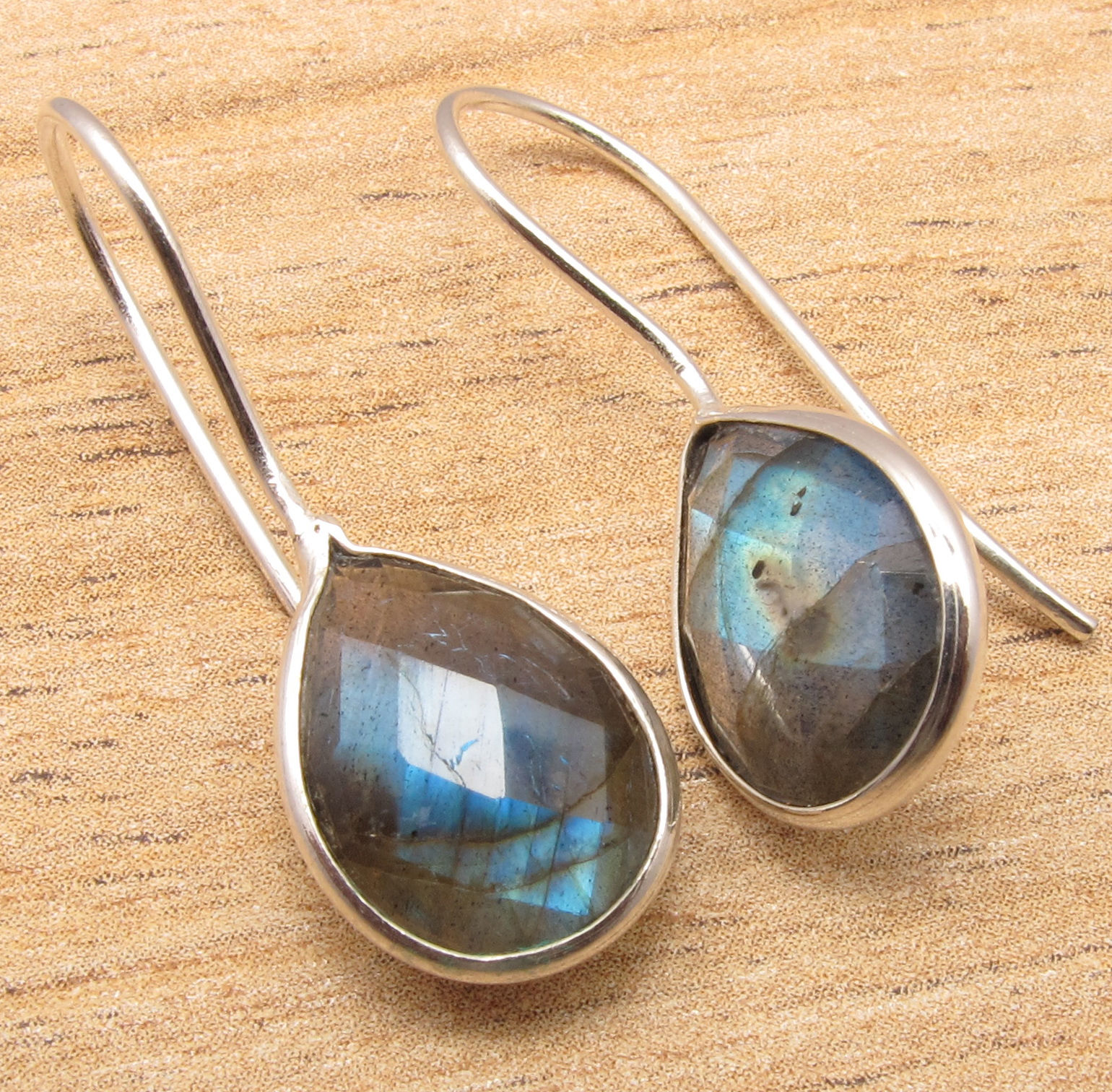 Natural LABRADORITE Pear Gem Stones Earrings Silver Plated Jewelry GEMSET