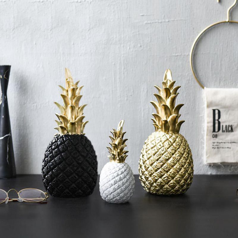 Black:  Pineapple Shaped Figurine Gold Black Pineapple Crafts Miniatures Gift For Office Home Decoration Pineapple - Martin's & Co