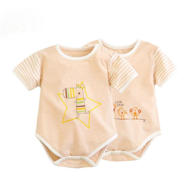 100% Algodão Bodysuit Do Bebê Recém-nascido Roupa Interior Das Meninas Dos Meninos Pijamas Roupa Do Bebê de Manga Curta Escalada JumpsuitOveralls SAS-9482