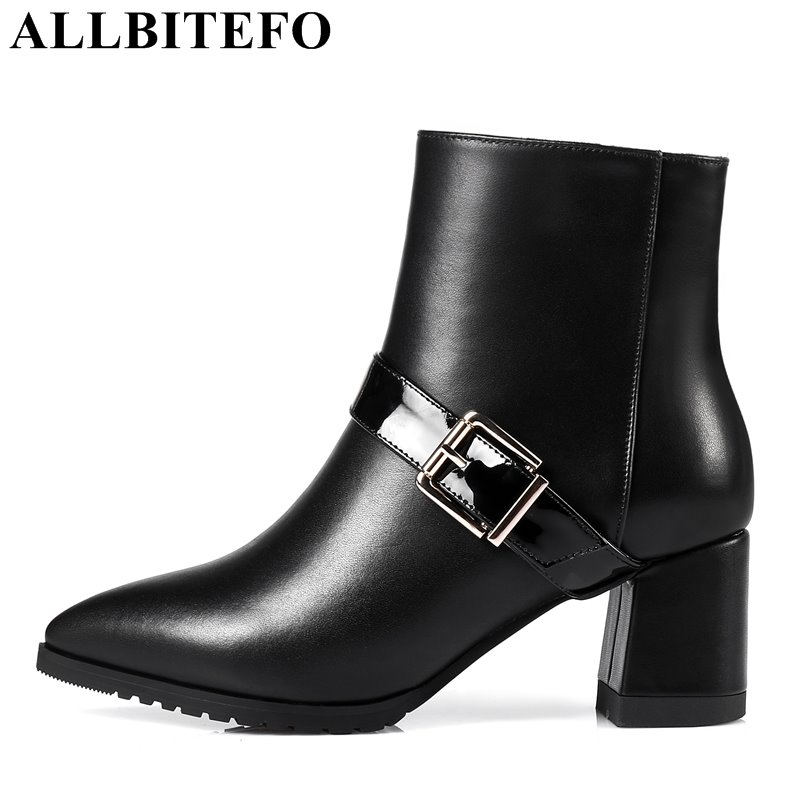 ALLBITEFO fashion brand full genuine leather pointed toe thick heel women boots medium heel buckle martin boots girls boots czrbt genuine leather boots women fashion pointed toe thick heel high heel boots spring autumn cow leather women chelsea boots