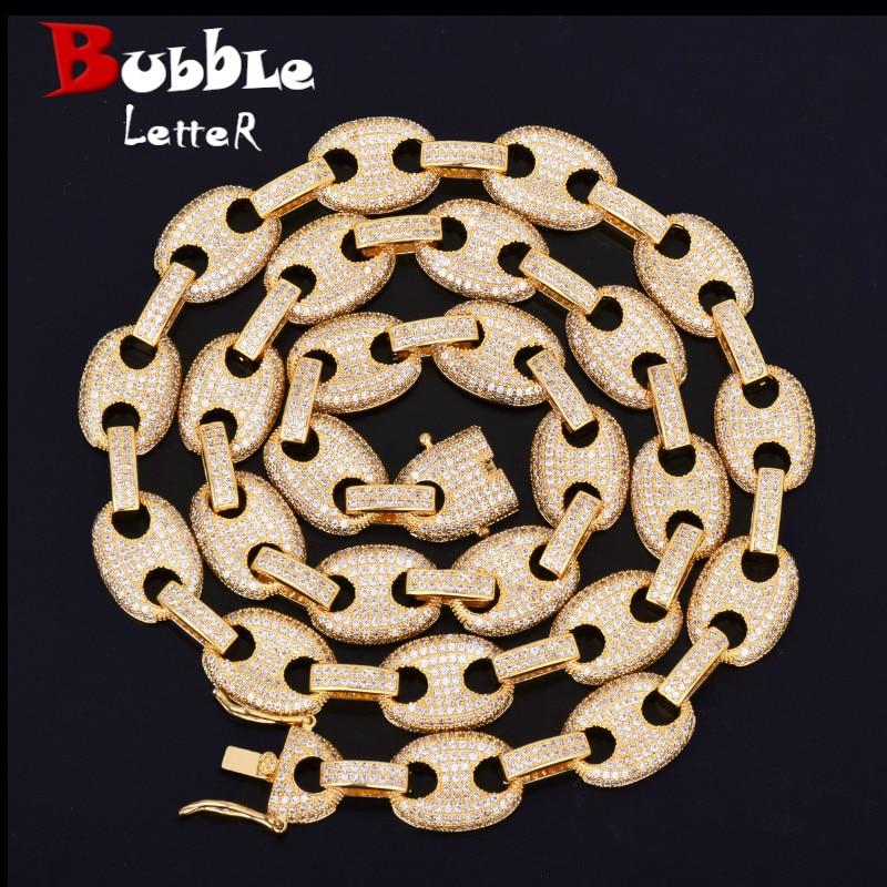12MM Gold Silver Color Cuban Link Necklace Bling Men s Hip hop Jewelry 18 K Copper