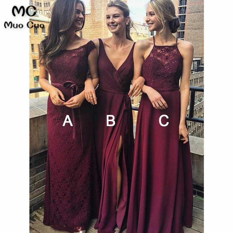 2018 A-Line Spaghetti Straps Burgundy   Bridesmaid     Dress   with Lace Chiffon Wedding Party   Dress   Women   Bridesmaid     Dresses