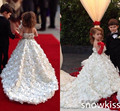 Long Train Floral fancy A-line Gowns First Communion Flower Girl dresses Kid Evening Prom Gown baby party occasion frocks