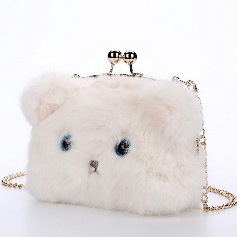 Women New Fashion Lovely Cartoon Kitten Chain font b Handbags b font shoulder bag Female Hasp