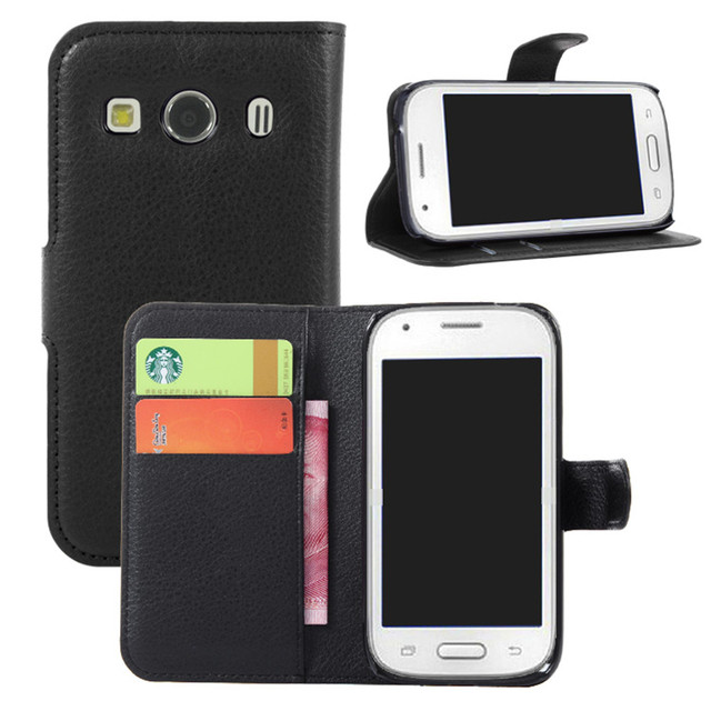 eafcf09e8ff Handmade Litchi PU Leather Wallet Case Flip Cover For Samsung Galaxy Ace 4  SM-G357FZ Ace Style With Stand And Card Slots