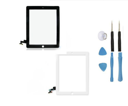 OEM New LCD Glass Touch Screen Digitizer With flex cable For iPad 2 2nd A1395 A1396 +3M Adhesive Tape Opening Tools