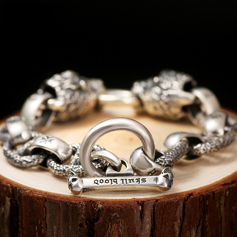 Dwa ognisty lwy wycie sylwetka bransoletka ze srebra próby 925 zwierząt Link łańcuch w stylu Vintage Punk Rock Gothic stałe Sterling Silver opaska na ramię w Bransoletki i obręcze od Biżuteria i akcesoria na  Grupa 3