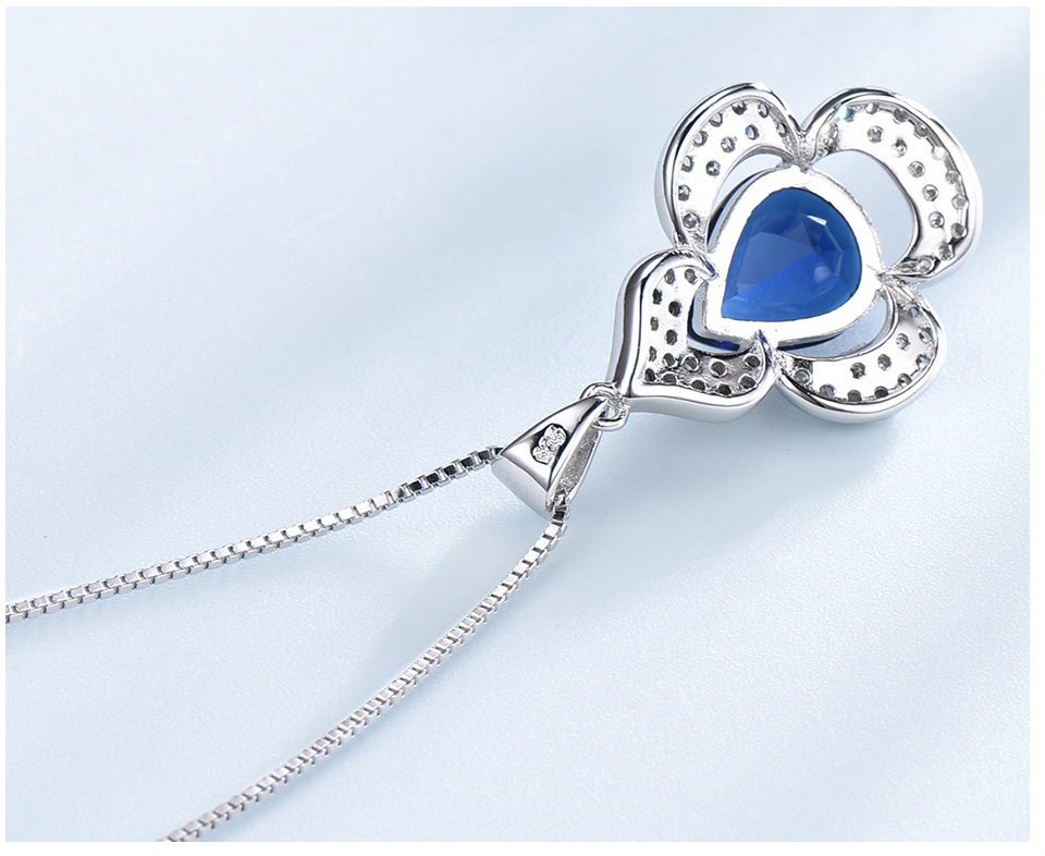 UMCHO-Blue Sapphire 925 sterling silver necklace for women EUJ090S-1 (6)