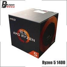 AMD Ryzen 5 1400 R5 1400 3.2 GHz رباعية النواة ثمانية موضوع معالج وحدة المعالجة المركزية L2 = 2 متر L3 = 8 متر 65 واط YD1400BBM4KAE المقبس AM4 جديد ومع مروحة