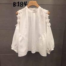 [GUTU] 2017 Spring Summer fashion new Three-dimensional Flower Strapless Puff Sleeve loose big size white Shirt woman Y11600