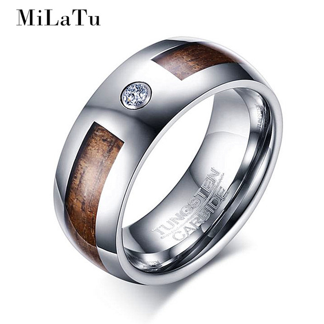 MiLaTu CZ Stone Wood Grain Tungsten Wedding Band 8mm 100 Genuine Carbide Ring Men
