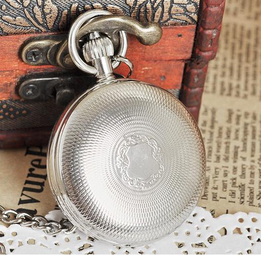 New Arrival Antique Silver Double Openable Case Mechanical Men Pocket Watch цена и фото
