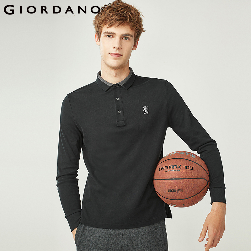 Giordano Men Polo Shirt Men Embroidery Lion Polo Men Long-sleeve Men Polo Shirts Slim Fit Polo Homme Warm Stylish Camisa Winter