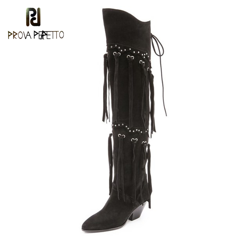 Prova Perfetto Latest Style Casual Long Boots Rivets Studded Fringe Tassel Over The Knee Bota Nubuck Leather Women Long Boots