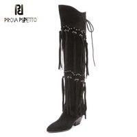 Prova Perfetto Latest Style Casual Long Boots Rivets Studded Fringe Tassel Over The Knee Bota Nubuck