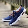 Homens Lona Sapatos Da Moda Casual Primavera Outono Respirável Plano com Sapatos Adolescentes Sólidos Lace Up Masculino