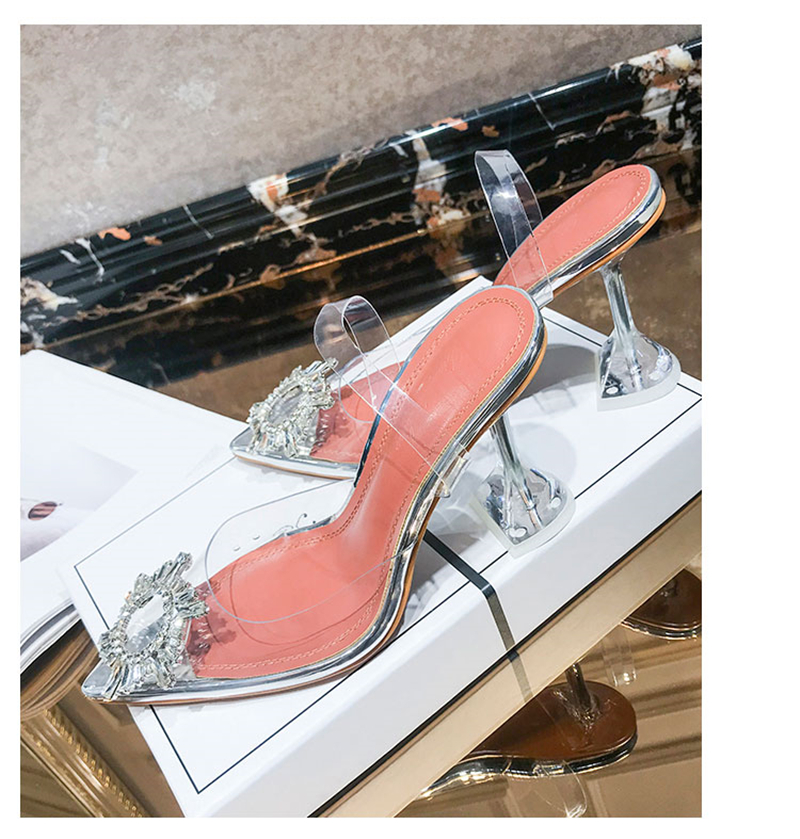 HTB1jr 7bBSD3KVjSZFqq6A4bpXaF Women's high heel sandals 2019 summer new pointed low heel rhinestone decorative sandals 42 large size jelly shoes