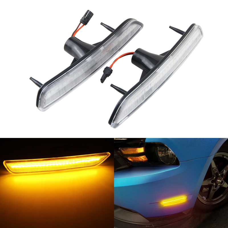 2PCs/Set Led Front Side Marker Lights For Ford Mustang 10-14 Clear Lens Amber Led Side Turn Signal Light Car Styling 1pair led side maker lights for jeeep wrangler amber front fender flares parking turn lamp bulb indicator lens