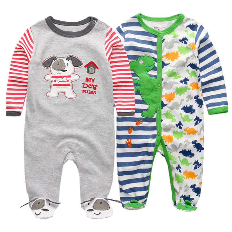 2 Pcs/lot newborn baby rompers Baby Girl Clothes 100% Cotton Baby Girl  summer Long Sleeve 0-12M Unisex Infant Clothing
