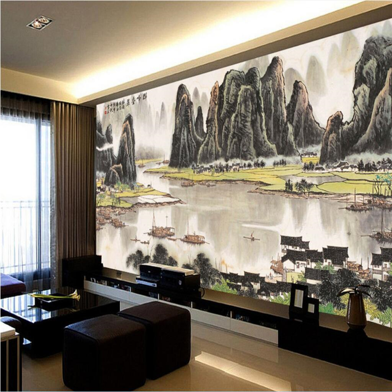 beibehang Customize any size wallpaper fresco picture landscapes mountains and rivers fortune ink chinese style background wall