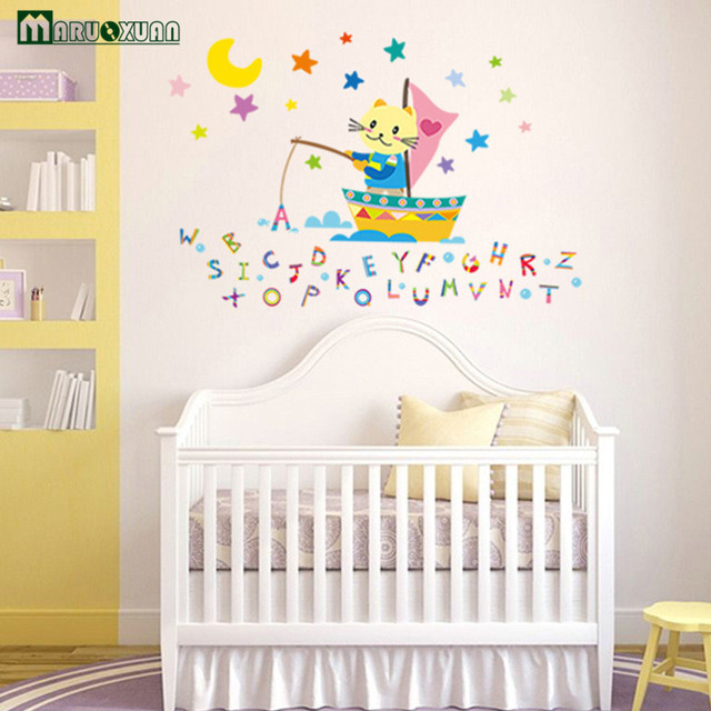 Maruoxuan Cartoon Letters Fishing Wall Stickers For Nursery Kids Room  Childrenu0027s Room Home Decoration Mural Wall