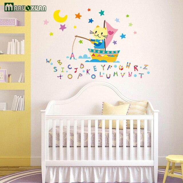 maruoxuan cartoon buchstaben angeln wandaufkleber f r kindergarten kinderzimmer. Black Bedroom Furniture Sets. Home Design Ideas