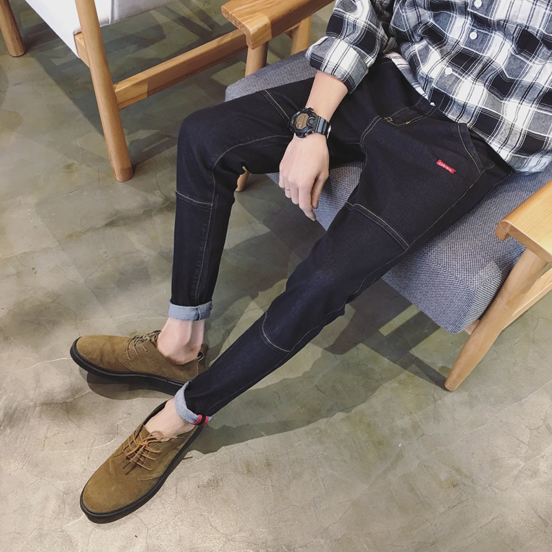 2017 Autumn Hot Sell Blue/Black Jeans Men Male Fashion Youth Leisure Time Pants Big Size Free Shipping Zipper Fly Slim Trousers