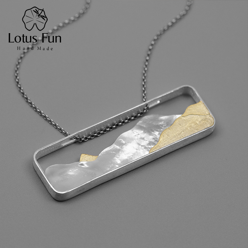 все цены на Lotus Fun Real 925 Sterling Silver Necklace Pendant without Chain Shell Mountain Sea Square Geometric Design Fine Jewelry