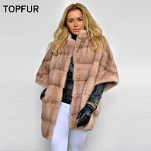 TOPFUR 2019 New Type Real Fur Coat Hot Sell Bat Loose Mink Jackets High Quality Factory Price Cloth
