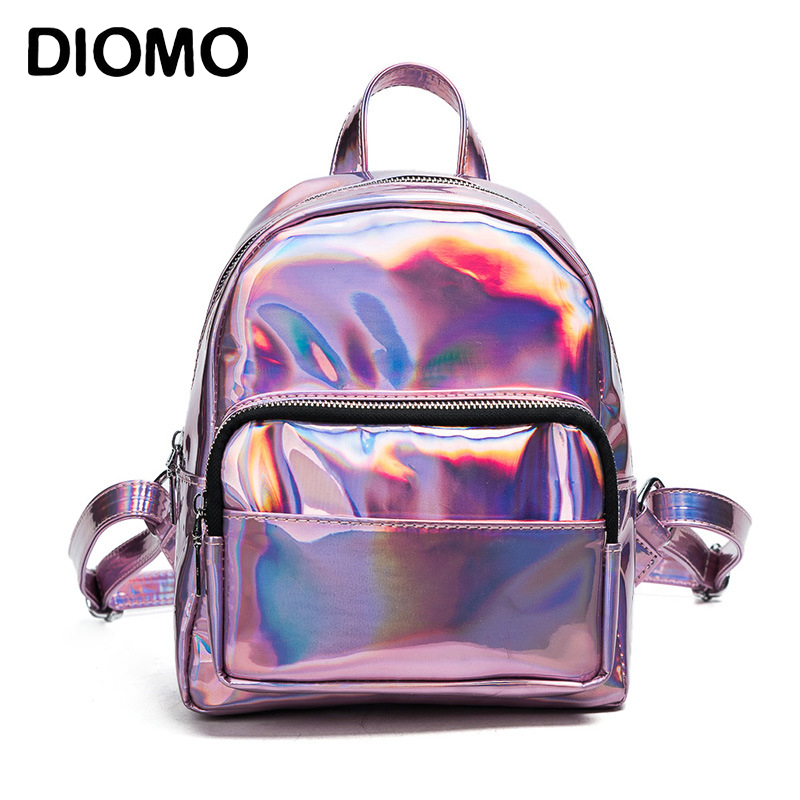 Diomo Mini Backpack Women Holographic Bag Hologram Female Cute Small Backpack For Girls Back Bag Silver Luggage & Bags