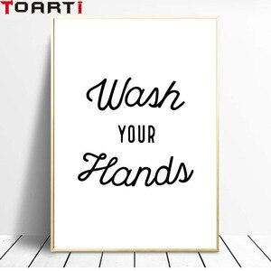 Image 3 - Мыть руки советы, чтобы предотвратить вирусы стены искусства холст печать забавная ванная комната художественная работа с цитатами Живопись Домашний Декор унитаз плакаты