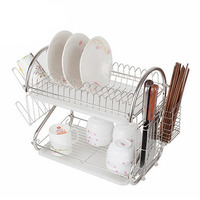 Best Value 2 Tier Dish Rack S Shaped Stainless Steel Dish Rack Drainer Cup Dishes Plates Cutlery Draining Rack Holder
