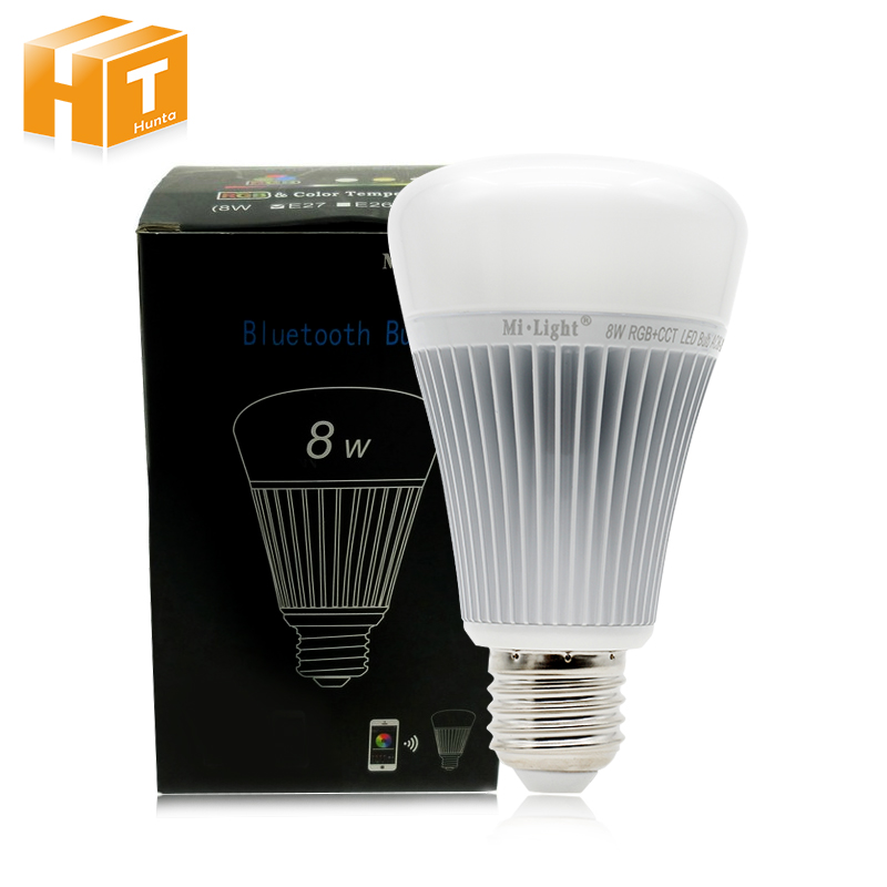 Mi-Light Bluetooth 4.0 Bulb 8W E27 AC85-265V Full Color Smart LED Light with IOS Android APP Control. e27 intelligent dimmable colorful led bluetooth speaker remote control smart home smart light bulb app control for ios android