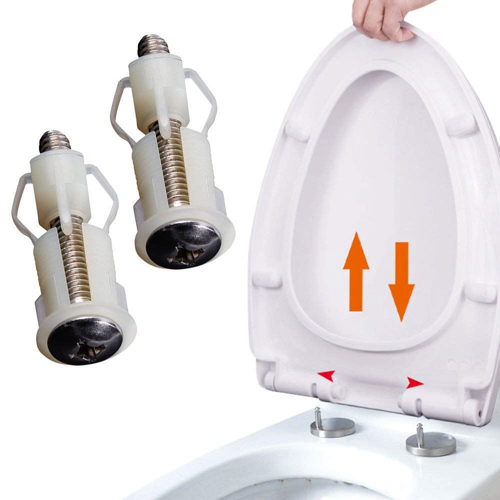 New Arrival 2 Pack Toilet Seat Hinges Screws WC Hole Fixing Easy Installation Commode Cover Screw Blind Hole Fixings Tools Parts