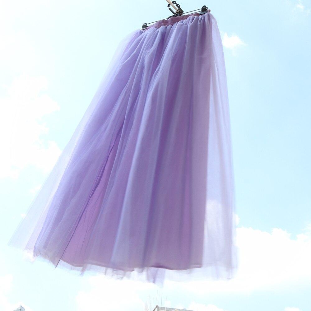 Fashion floor length Wedding Tulle Skirt Lavender Overskirt Girls Fluffy Adult Tutu Dance Mesh Skirt Petticoat Faldas Saias Jupe