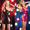 Nova Venda Quente Mulheres Mini Vestido Clubwear PVC Erótico Látex Uniforme Mini Vestido Vestido De Couro Falso