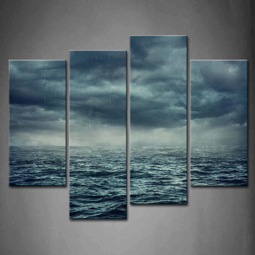 Framed Wall Art Pictures Rain Stormy Sea Canvas Print Artwork Seascape Modern Posters With Wooden Frames For Living RoomFramed Wall Art Pictures Rain Stormy Sea Canvas Print Artwork Seascape Modern Posters With Wooden Frames For Living Room