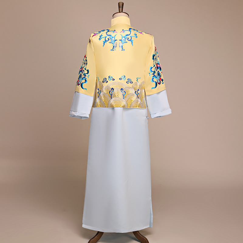 Classic Embroidery Asian Bridegroom Wedding Costume Men Chinese Traditional Marriage Clothes Vintage Oriental Male Tang Suit