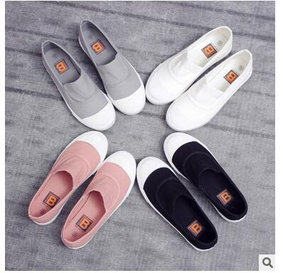 Spring and Autumn women canvas shoes flat white comfortable 4 color