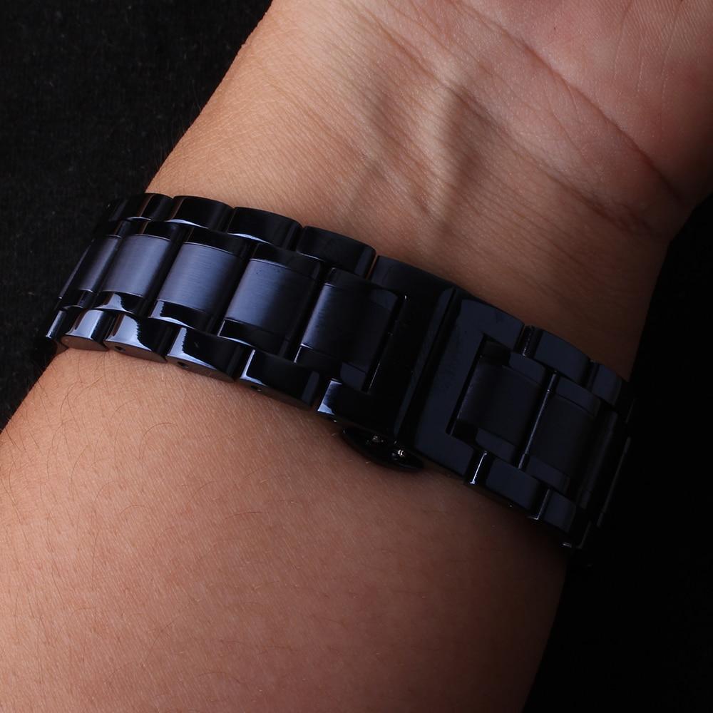 Stainless Steel Watchbands Dark BLUE Watch Band Fit Men Women Wristwatch Gear Galaxy S4 Straight End 20mm 22mm Butterfly Buckle
