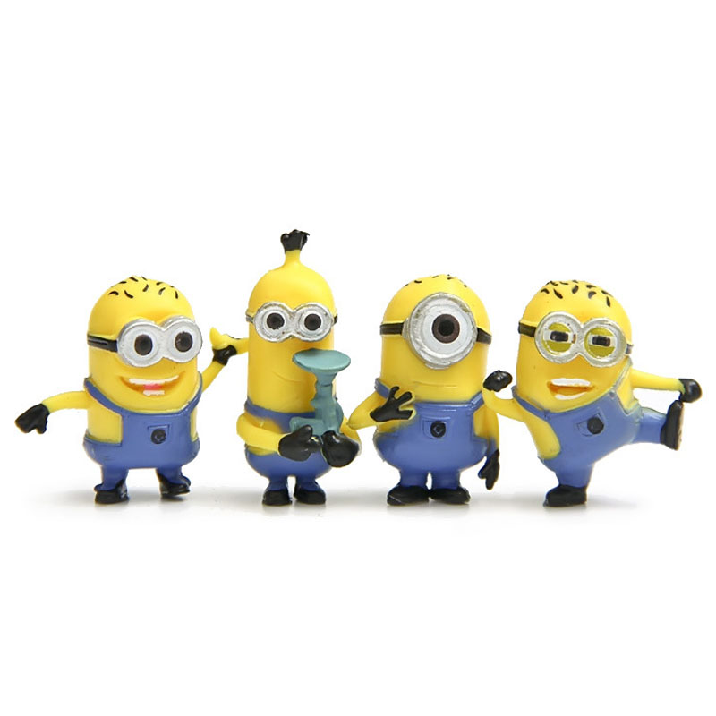 Hot Sell Animation Movie Figures <font><b>Despicable</b></font> <font><b>Me</b></font> <font><b>2</b></font> <font><b>The</b></font> <font><b>Minions</b></font> <font><b>Role</b></font> Figure Display Toy PVC 4Pcs <font><b>Set</b></font> Best Gift For Movie Fans SL