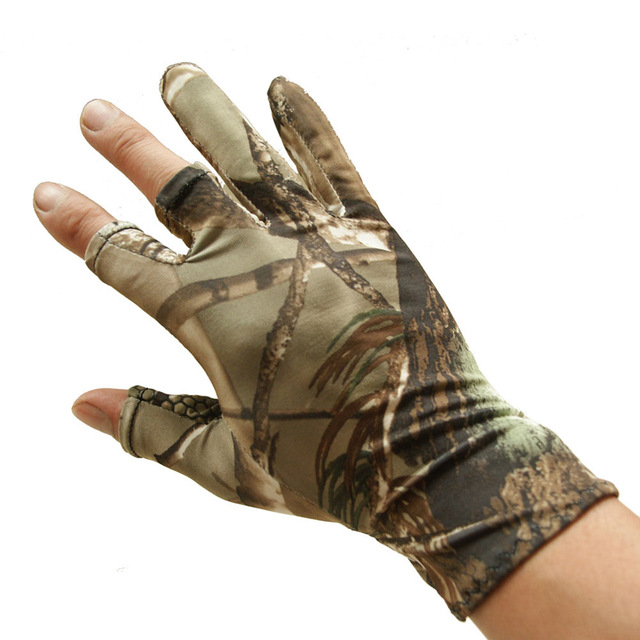Cheap Fishing Gloves Camouflage Anti-Slip Elastic Thin Mitten 3 Fingers Cut Camping Cycling Hunting Half-Finger Gloves ASD88