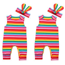 Summer Newborn Baby Girl Rainbow Jumpsuit