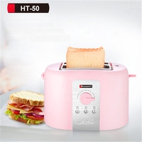 HT 50 Home Use 2 Silces Bread Automatic Toaster Maker Machine Breakfast 2 toaster with grill 5 speed heating to send dust cover