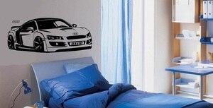 Image 1 - Özelleştirilebilir kişiselleştirilmiş adı R8 süper araba vinil duvar çıkartmaları spor araba meraklıları genç odası okul ev duvar çıkartması 2CE18